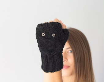 Sales Black owl texting gloves fingerless gloves mittens hand warmers womens knit gloves gift for her mitts half finger gloves
