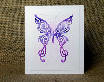 handmade butterfly card, butterfly birthday card, blank card, butterfly, card for her,