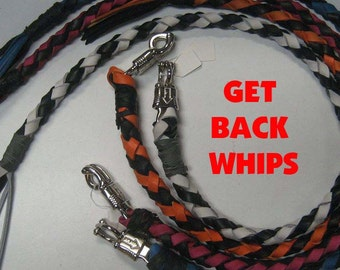 Leather Biker Whip, Leather Whip, Get Back Whip, Biker Get Back Whips, Whips for Motorcycles, Get Back Leather Whip