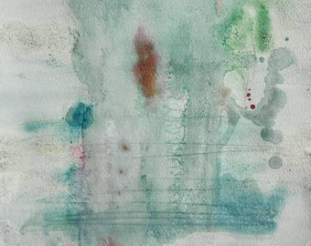Watercolor blue and green. Abstract art. Original painting