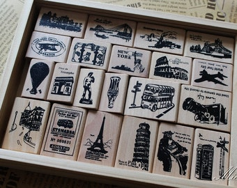 10% OFF Vintage Paris Stamp Set - Wooden Rubber Stamps - Korean Stamps -  Diary Stamp - Retro scenery - 21 Pcs in