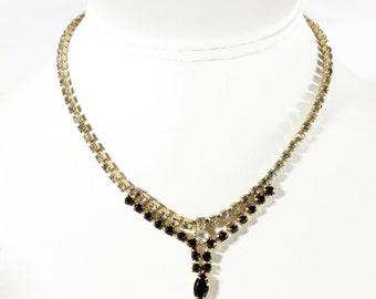 Vintage 1950s Black Rhinestone Necklace