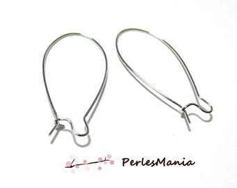 10 earring hooks, lever quality 43 by 20 mm platinum silver H2214