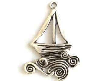 1pc - Matte Silver Plated  Sailing Charm-60x45mm-(404-034SP)