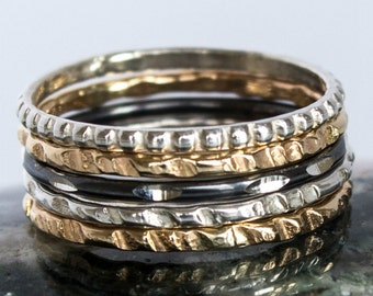 Mixed Metal Ring Set Hammered Ring Set 5 Ring Set Stackable Ring Set Tri Color Ring Set Thin Gold  and Silver Ring Set Gold Silver Ring Gift