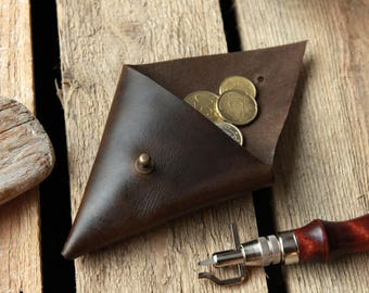 Leather Coin Purse, Leather Coin Pouch, Triangle Coin Purse, Leather Coin Case, Coin Wallet