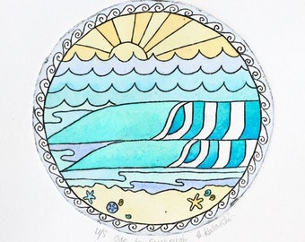 Surf art print - waves & sunset watercolour and etching print. Surf Art, Australia, Collagraph