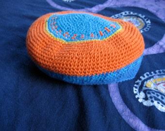 cotton beret hat medium tangerine and cobalt