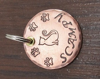 Kitty Cat Tag, Pet id Tag, Pet Tag, Personalized Pet Tags, Cat Name Tags, Paw Prints, Copper Pet Tag, Personalized Cat Tag, Pet Acessories