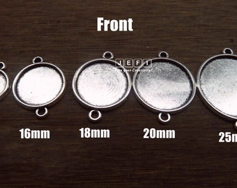 Pendant Trays 12mm/ 16mm/ 18mm/ 20mm/ 25mm Round Bezel Setting W/ Two Rings Antique Silver Zinc Alloy