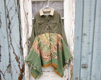 XL Upcycled Sage Green Corduroy Floral Jacket Coat// Reconstructed// Altered Clothing// emmevielle