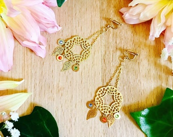 Colorful earrings gift gold metal
