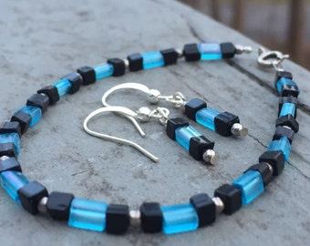 Beaded jewelry set, black and blue crystal beaded bracelet, earrings, beaded bracelet, beaded earrings, bohemian bracelet, boho earrings