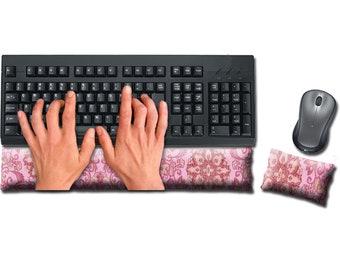 Keyboard and Mouse Ergonomic Wrist Rest Pad Set Handmade - Desktop Laptop - Flax Seed Fill Optional Scent - Satin / Velvet - Pinkalicious