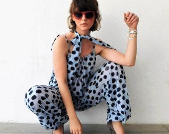 Bohemian Jumpsuit for Women, Blue Jumpsuit Gypsy Boho, Sleeveless Jumpsuit Women