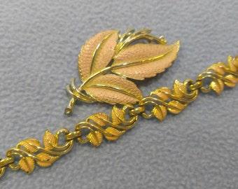 Vintage Pink Leaf Brooch and Coro Bracelet