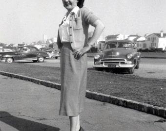 vintage photo 1952 Young Woman Marina San Francisco Hands on Hip