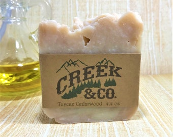 Tuscan Cedarwood soap, manly soap, rustic soap, handcrafted soap, kitchen soap, soap for men, shower soap, scented soap, handmade soap,