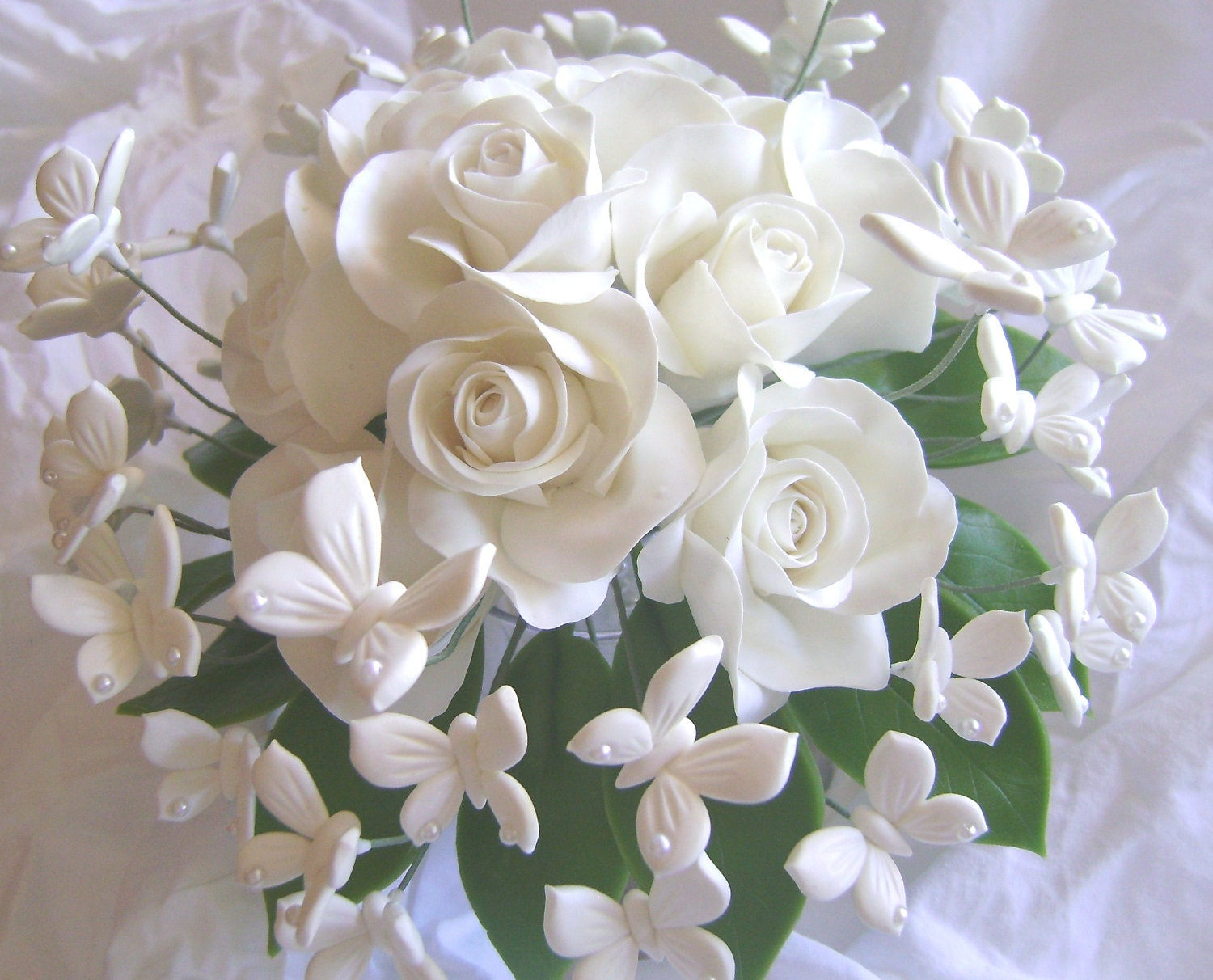Wedding bouquet clay white rose white butterflies handmade zoom izmirmasajfo Images