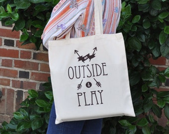 Go Outside & Play tote bag | Library book bag | Grocery bag | brown ink | FAST + FREE SHIPPING