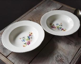 Vintage Bowls, Homer Laughlin, Floral Patterned Bowls, Vintage Soup Bowls, Soup Bowls, Vintage China, Table Wares, Cottage Decor