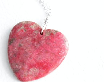Fossil Coral Heart Necklace, Red Stone Pendant, Fossilized Jewelry