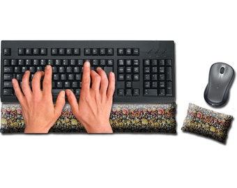 Keyboard and Mouse Ergonomic Wrist Rest Pad Set Handmade - Desktop Laptop - Flax Seed Fill Optional Scent - Satin / Velvet - Jewel