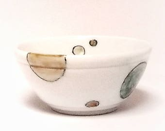 BOWL- porcelain handmade food prep small bowl or serving dish with  decorative hand painted circles in amber, jade, light brown and black