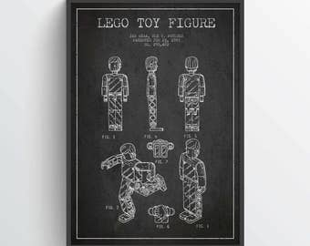 1983 Lego Patent Poster, Lego Poster, Lego Print, Lego Decor, Wall Art, Home Decor, Gift Idea, GT16P