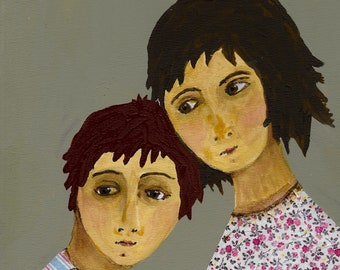 Sister and brother- acrylic/collage art print