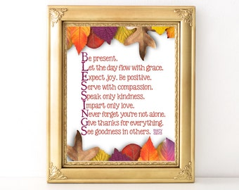 Blessings Autumn Print / Every Day Spirit / Inspirational Quote / Autumn Art / Words of Wisdom / Encouraging Quote / Dorm Wall Art