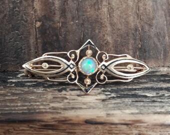 Antique filigree Opal Brooch 10k