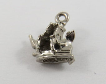 Small Pirate Ship Sterling Silver Charm or Pendant.