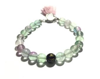 fluorite mala bracelet, beaded bracelet, crystal healing, yoga bracelet