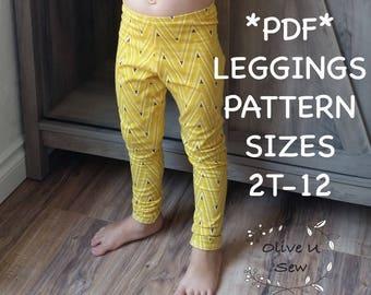 PDF Legging pattern, Basic leggings, sewing pattern, pdf pattern, childrens leggings, Pattern, Kids Leggings, Kids sewing pattern, toddlers