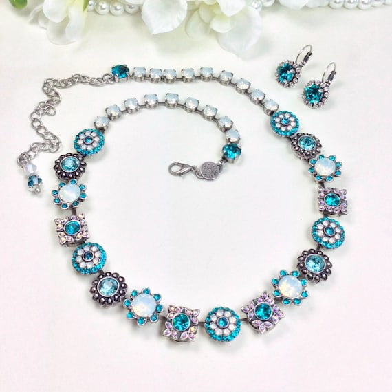 "Swarovski Crystal Necklace ""Flower Garden"" Special One Of A Kind - Feminine Flowers - Blue Zircon & White Opal - On SALE! - FREE SHIPPING"