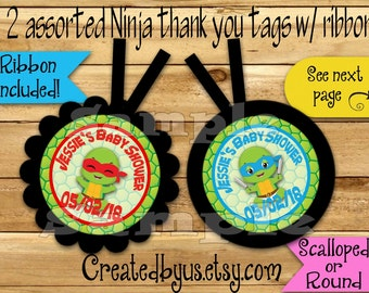 Ninja baby Thank you tags Warrior turtle Birthday Baby turtle Party favor tags Custom Gift tags Birthday Party tags Ribbon incld & assembled