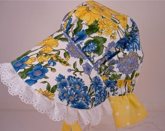 Child's  Countryside Sun Bonnet with back neck protective flap, Made to Order