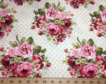 Shabby Chic Floral Fabric with Flowers By the Yard or Half Yard Pink & Sage Green Cream Cotton Quilting Fabric t2-14