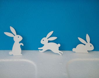 Set of 3 White rabbits for scrapbooking and card