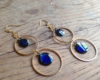 Enameled copper - blue transparent steel earrings