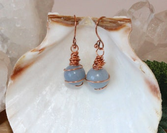 Chunky ANGELITE EARRINGS copper wire wrapped angelic beads gift for mom blue earrings copper earrings dangle earrings blue drop earrings