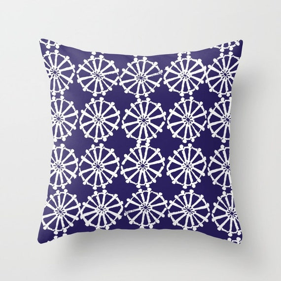 OUTDOOR Throw Pillow . Indigo Outdoor Pillow . Indigo Blue patio cushion . Modern Geometric Pillow Wheel . 16 18 20 inch . Lumbar Pillow