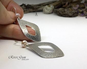 Textured Silver Leaf Earrings, Freshwater Pearl Earrings, Leaf Earrings, Handmade by RiverGum Jewellery