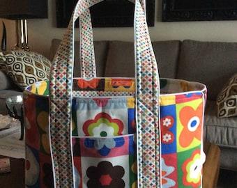 Bright Flowered Print Tote Bag
