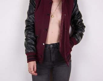 Subdued-80 's Baseball Style wool bomber with contrast sleeves