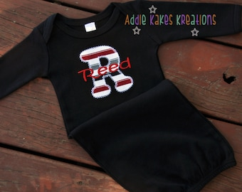 Monogrammed Baby Gown - Applique Letter Baby Gown - Take Home Outfit - Baby Boy Gown - Applique Initial and Name - Baby Boy Gift - Stripes