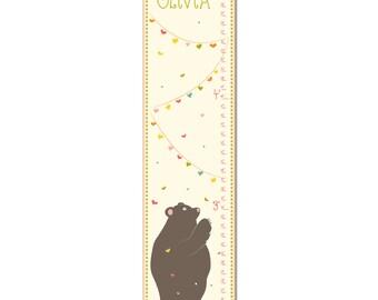Custom Canvas Growth Chart - Love Bear with Hearts