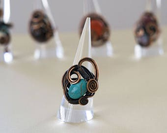 Turqouise Copper Wite Wrapped Ring
