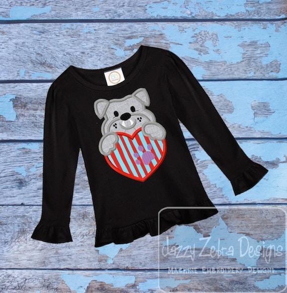 Bull Dog Valentine Applique Embroidery Design - Valentine appliqué design - Bull dog applique design